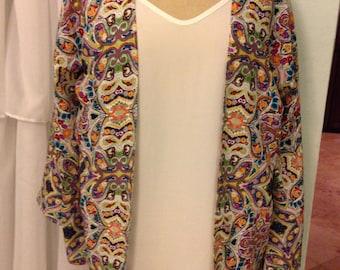 Long Sleeve Purple Spanish Tile Kimono