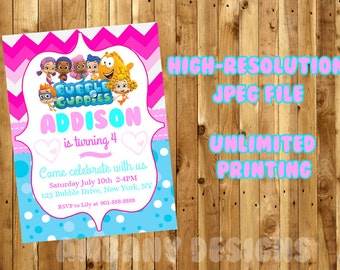 BUBBLE GUPPIES Birthday Party Invitations / Bubble Guppies Printable Birthday Party Invitations