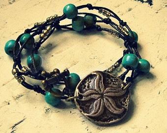 Starfish Wrap Bracelet, Starfish Jewelry, Boho Jewelery, Starfish Accessories, Boho Jewerly, Starfish Bracelet, Starfish Jewlery