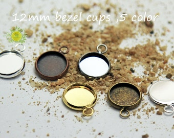 12mm Round Bezel Cups-Recessed Earring Bezel fit 12mm Cabochons-Charm Drops-12mm pendant tray-12mm Bezel Blank Setting-5 Color-Choose Qty