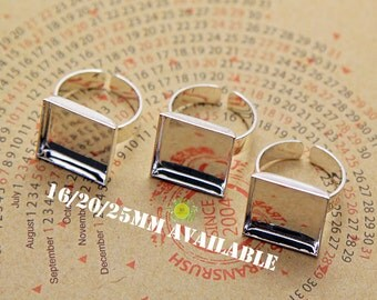 Adjustable Ring Blank-Ring Bezel Blanks Square-Ring Bases with a High Wall Bezel Tray-Cabochon settingS-Brass Ring Blanks 3 size
