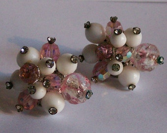 Vintage Vendome Pink and White Beaded Earrings Clip On Cluster Earrings Clip Back Signed Coro Costume Jewelry