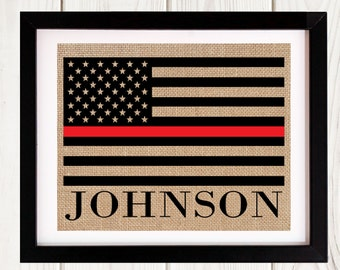 Thin Red Line Flag, Personalized Firefighter Gift