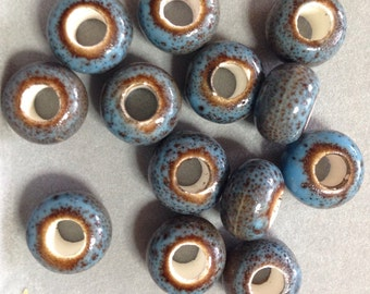 Ceramic blue and brown large holed beads