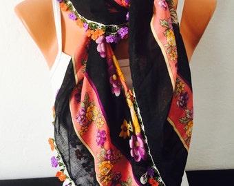 colorful flower pattern scarf oya scarf  scarf gypsy scarf ethnic bohemian scarf women scarf summer accessories summer spring scarf
