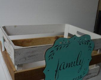 Rustic distressed wood crate