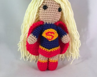 Supergirl Amigurumi figure with red cape