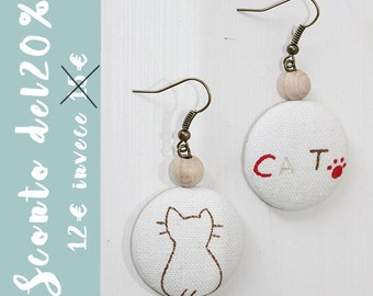 Earrings with cat