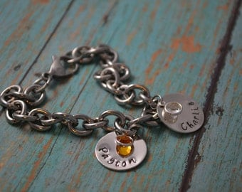 hand stamped mother's charm bracelet, hand stamped grandmother's bracelet, hand stamped bracelet