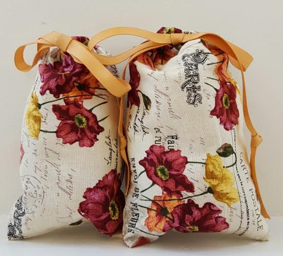 Bags Paris Floral Fabric Print; Set of 2 Fabric Floral Paris Print Bags; Drawstring Bag Set; Jewelry Pouch Bags