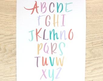 Brushlettered Alphabet Print