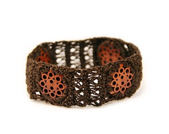 chocolate brown - bracelet - chocolate gift - button bracelet - boho bracelet - fiber bracelet - chocolate jewelry