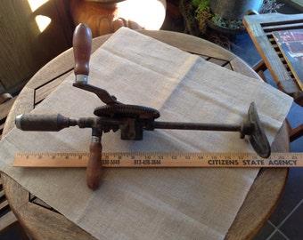 Vintage MILLER FALLS Co. Hand Drill with Shoulder Brace