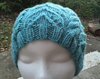 Handmade woman cable knit beanie hat, ready to ship