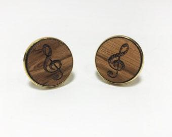 Musical Wooden Cufflink Pair (2) - Music Treble Clef - Handmade Wooden Cufflinks