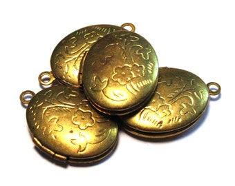 5 Vintage Lockets, Brass Locket, Oval Locket, Jewelry Locket, Necklace Locket, Pretty Locket, Vintage Locket, Locket Charm, Locket Vintage