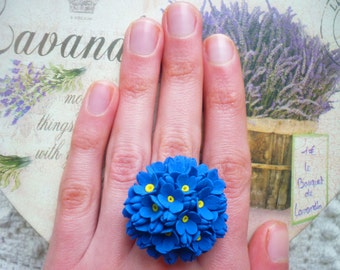 Blue flower ring Forget me not ring Floral ring Clay flower wedding ring Statement ring Engagement ring Promise ring Forget me not jewelry