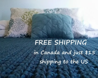 Teal Chunky Crochet Blanket,  Afghan, Throw Blanket, Chunky Crochet Throw, Crochet Blanket, Couch Blanket, Rug