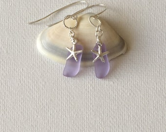 Hawaii Sea Glass Lavendar Sterling Silver Wire Wrapped Silver Starfish Charm Earrings