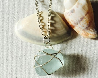 Sea Foam Free Form Sea Glass Silver Wire Wrapped Necklace