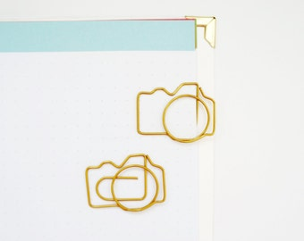 Gold Camera Paper Clips Bookmark for your Planner