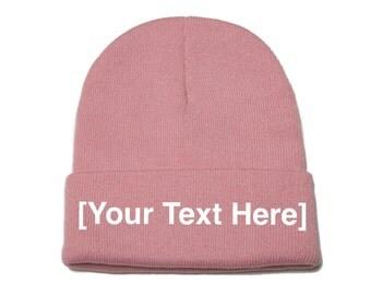 Custom Beanie, Custom Beanies, Custom Embroidered Beanie, Custom Beanie Hat, Pink