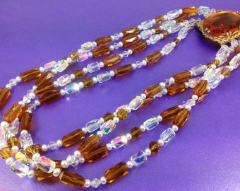 1960's Glass Bead Necklace, AB Crystal Coated Beads, Small Pearls Amber Cabochon, Vintage Gift