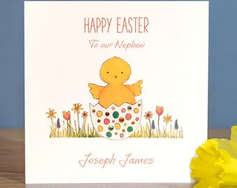 Handmade Personalised Easter Card - Easter Chick Card - Son Easter Card - Grandson Easter Card - PersonalisedNephew Easter Card