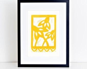 Texas Wildflower Linocut Block Print Papel Picado Yellow Coneflower 8x10 4x6