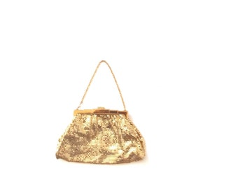 Whiting & davis mesh mini bag. 70s gold color chain mail bag. Made in USA.