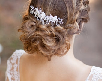 Wedding hair comb Bridal hair comb Bridal headpiece Wedding headpiece Leaves wedding comb Leaf bridal comb Wedding hair accessories