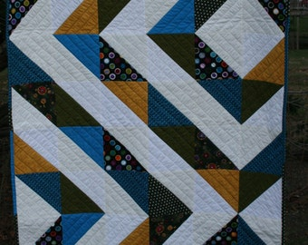 Modern Baby Quilt in Greens, Blues, Golds