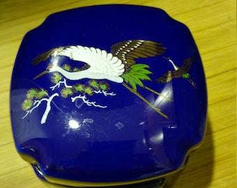 Beautiful cobalt-blue Whooping Crane porcelain Jewelry Box