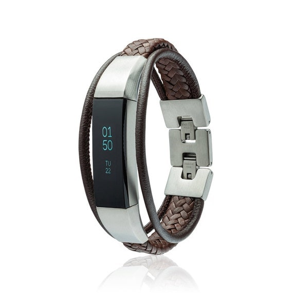 Bracelet Aurel 2 - for Fitbit Alta - Alta HR - Jewelry -Brown - Stainless steel and real leather