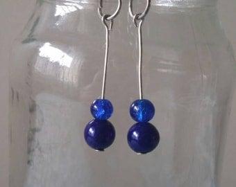 Dark blue, beaded ,wire earrings, blue earrings