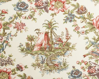 DESIGNER CHINOISERIE Courting Couples TOILE Fabric 10 Yards Cream Green Blue Multi