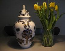 BIG Lid Vase Genuine Heinrich GERMANY Echt Kobalt Hofgarten porcelain. Made in germany 1950s