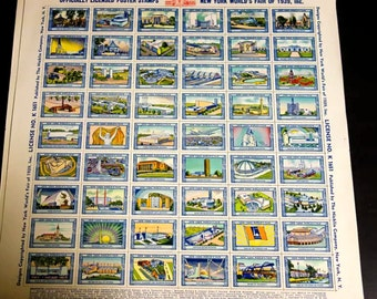 1939 New York worlds fair stamps souvenir
