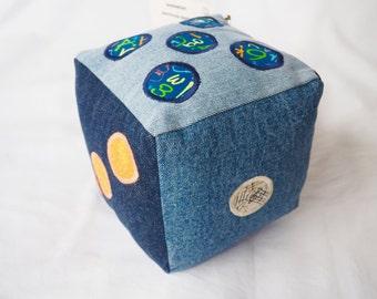 Denim die dice handmade  embroidered stuffed soft toy dice