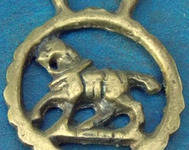 Rare vintage MINIATURE HORSE BRASS Horse in Harness Style Design Made in England