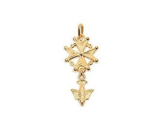 Gold plated cross Huguenot pendant