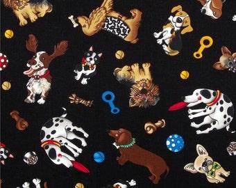 Black Quilting Fabric Dog Print - Fat Quarter