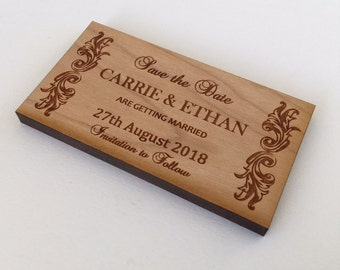 Wood Save the Date magnets, Wood Save the Dates, Wooden Wedding Magnets, Personalized Save the Date, Save the Date