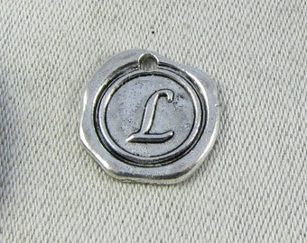 "Silver Wax Medallion Letter ""L"" Charms, 1 or 5 letters per package  ALF014l"