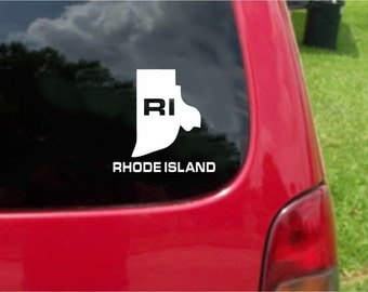 2 Pieces Rhode Island RI State USA Outline Map Stickers Decals 20 Colors To Choose From.  U.S.A Free Shipping