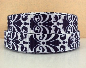 7/8 inch BOLD DAMASK - Navy on White - Filigree - Printed Grosgrain Ribbon for Hair Bow