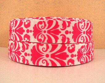 7/8 inch BOLD DAMASK  HOt PInk on White - Filigree - Printed Grosgrain Ribbon for Hair Bow