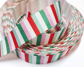 7/8 inch - VINTAGE CHRISTMAS VERTICAL Stripes - Printed Grosgrain Ribbon for Hair Bow