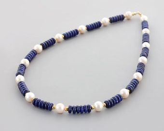 Lapis Lazuli White Freshwater Pearl Necklace / White Blue Gold Gemstone Beaded Necklace / Statement Necklace