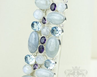 Excellent Mix of Colors! Aquamarine Moonstone 925 S0LID Sterling Silver Bracelet & FREE Worldwide Express Shipping B1712